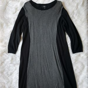 Black and gray sweater dress